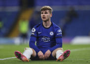 Chelsea's Timo Werner reacts during the English Premier League soccer match between Chelsea and Leicester City at Stamford Bridge Stadium in London, Tuesday, May 18, 2021. (Catherine Ivill/Pool via AP)