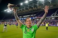 """<p>Ashlyn Harris is a goalie for the Orlando Pride in the NWSL and on the USWNT, with whom she's won two World Cups. Along with her spouse, Ali Krieger, Harris is an outspoken advocate for equality across the gender and sexuality spectrum.</p> <p>Growing up, Harris explained to POPSUGAR <a href=""""https://www.popsugar.com/fitness/ashlyn-harris-ali-krieger-interview-lgbtq-representation-47388372"""" class=""""link rapid-noclick-resp"""" rel=""""nofollow noopener"""" target=""""_blank"""" data-ylk=""""slk:in a previous interview"""">in a previous interview</a>, """"I didn't see people of my community, and it made me feel like I had to hide, and it made me feel that I couldn't live my truth. I think, for us, that is something that Ali and I strive to do just to create the visibility aspect in our sport and in our life and show that we get happy endings, too.""""</p>"""