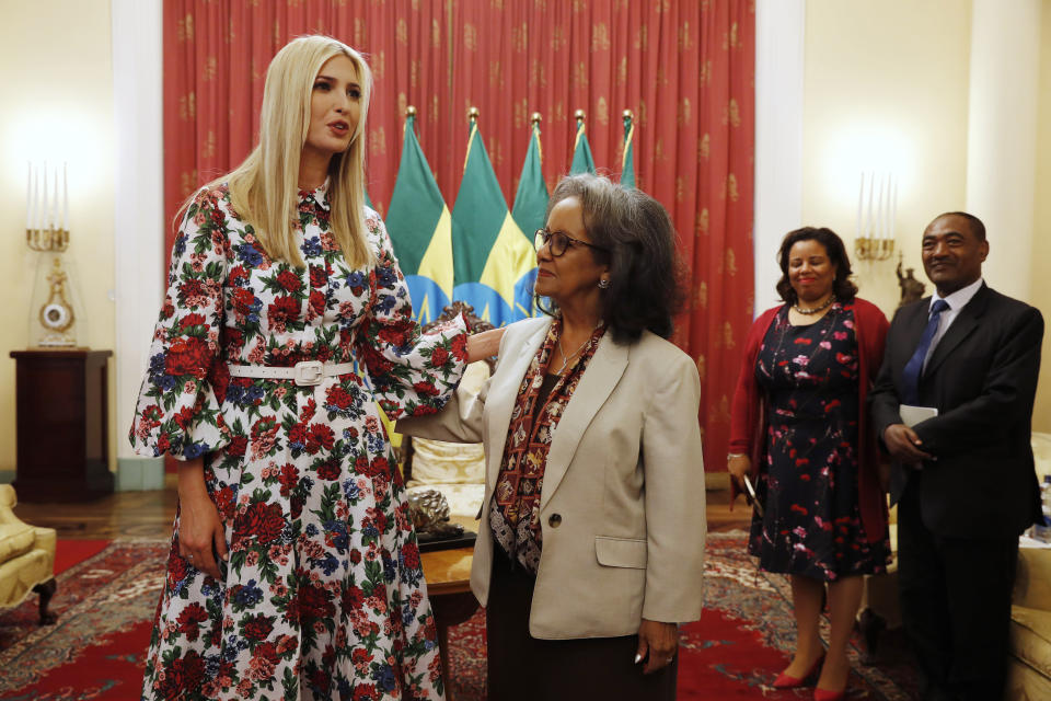Ivanka Trump wore an Emilia Wickstead dress for her meeting with President Sahle-Work Zewde of Ethiopia. (Photo: AP Photo/Jacquelyn Martin)