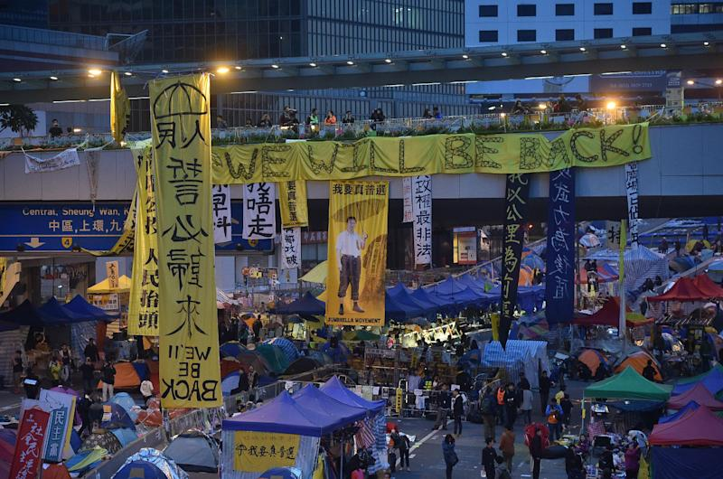 The main pro-democracy protest camp in Admiralty, Hong Kong on December 11, 2014 (AFP Photo/Pedro Ugarte)
