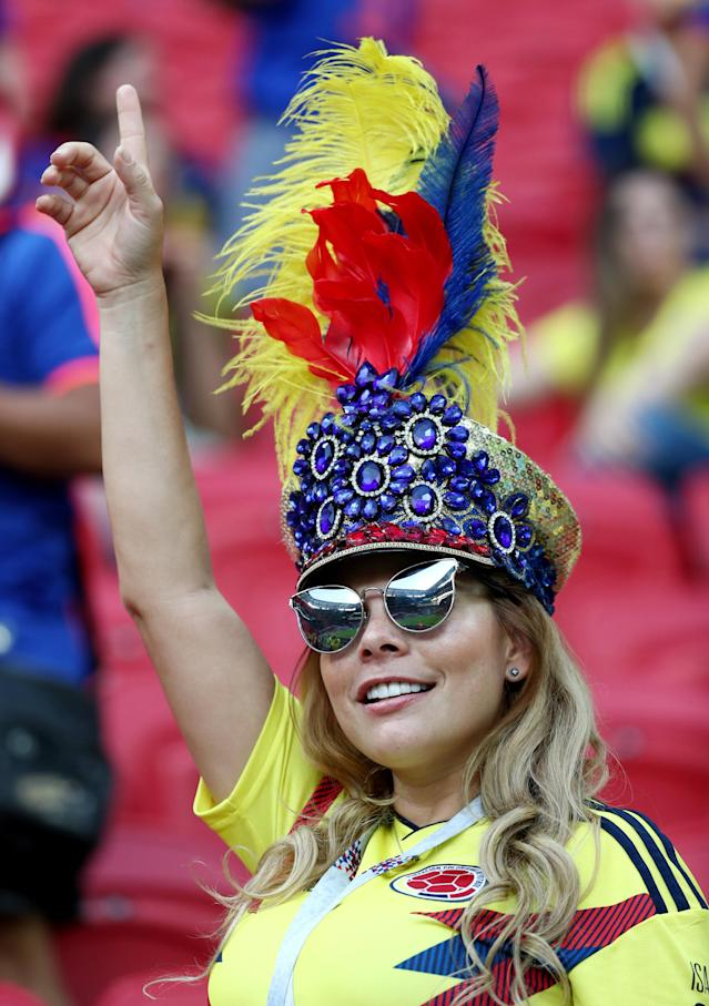 Soccer Football - World Cup - Group H - Poland vs Colombia - Kazan Arena, Kazan, Russia - June 24, 2018 Colombia fan inside the stadium before the match REUTERS/Sergio Perez