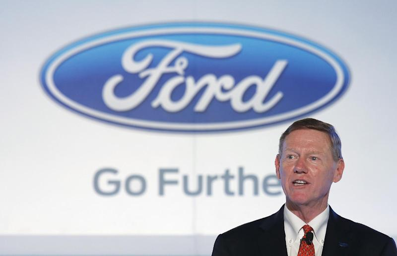 """FILE - In this Oct. 21, 2013 file photo, Alan Mulally, president and CEO of Ford Motor Company speaks during a news conference in Hong Kong. Mulally wouldn't say Thursday, Oct. 24, 2013, if he has talked to Microsoft about taking the CEO job at the software giant. """"We don't comment on the speculation,"""" he said on the company's third-quarter earnings conference call. Mulally repeated that there's no change in the company's plan for him to stay as CEO through the end of 2014. Mulally, 68, has held the top job at Ford since 2006. Microsoft Corp. is reportedly considering Mulally as a replacement for CEO Steve Ballmer, who intends to step down in less than a year.(AP Photo/Vincent Yu)"""