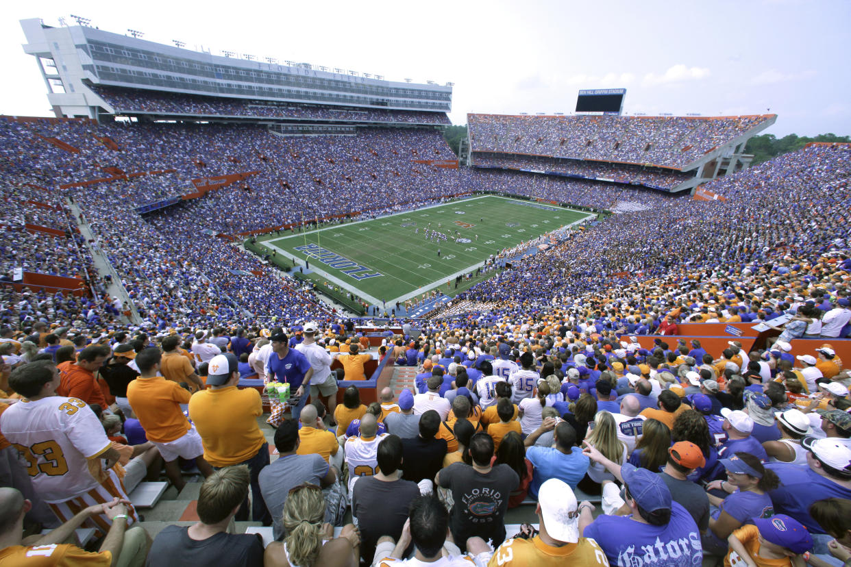 """Florida Gov. Ron DeSantis has offered """"The Swamp"""" as a host site for NFL games in the fall if other state remain closed. (AP Photo/Phelan M. Ebenhack, File)"""