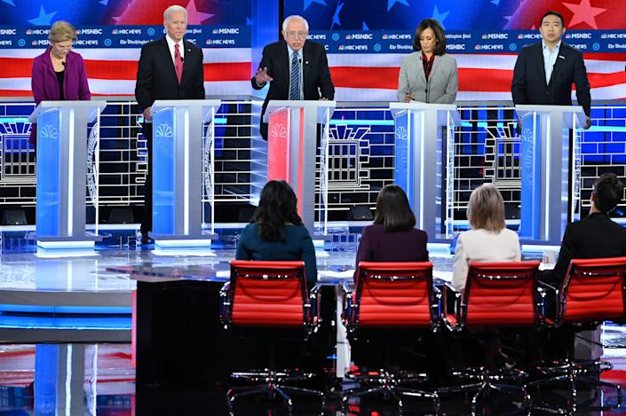 Democratic presidential candidates debate in Atlanta on Nov. 20, 2019.