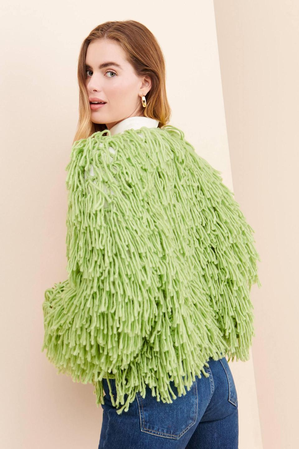 """<br><br><strong>Glamorous Anthropologie</strong> Solid Shaggy Cardigan, $, available at <a href=""""https://go.skimresources.com/?id=30283X879131&url=https%3A%2F%2Fwww.anthropologie.com%2Fshop%2Fglamorous-solid-shaggy-cardigan"""" rel=""""nofollow noopener"""" target=""""_blank"""" data-ylk=""""slk:Anthropologie"""" class=""""link rapid-noclick-resp"""">Anthropologie</a>"""