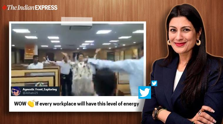 ceo dance with staff, muqabla street dancer 3d, ceo dance to muqabla, dipali goenka, welspun india, viral videos, indian express