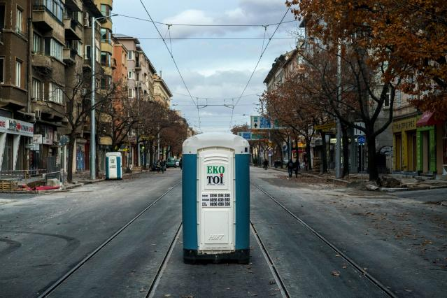 <p>A portable toilet in downtown Sofia, Bulgaria. (Photo: Dimitar Dilkoff/AFP/Getty Images) </p>
