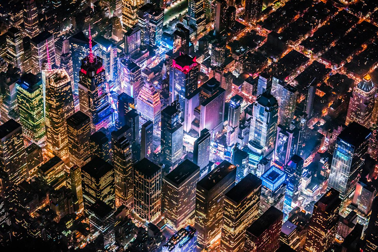 Time Square from helicopter at night