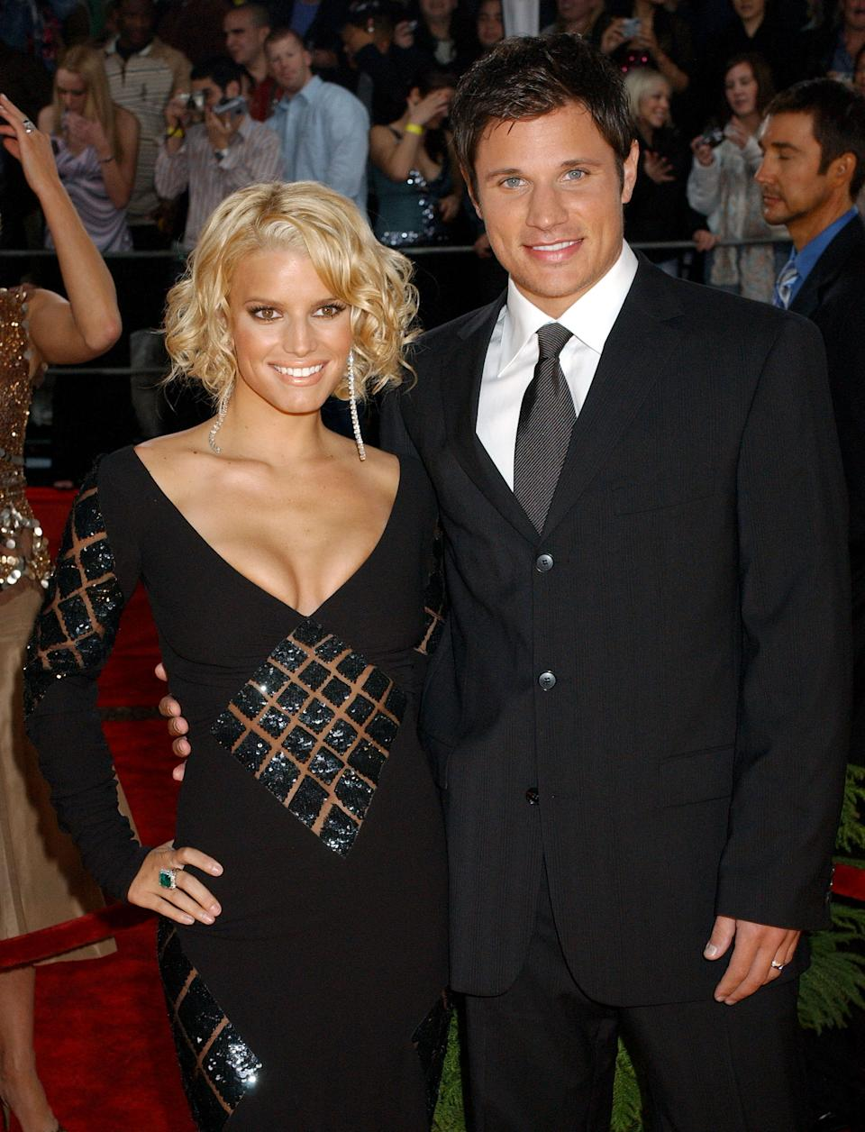"""<p>Simpson and Lachey's careers skyrocketed after the pair tied the knot in 2003. Their successful MTV reality show, """"The Newlyweds"""" spawned """"I Love Lucy"""" comparisons for the bubbly blonde and her boyband husband. The couple divorced in 2006. <em>(Image via Getty Images)</em></p>"""