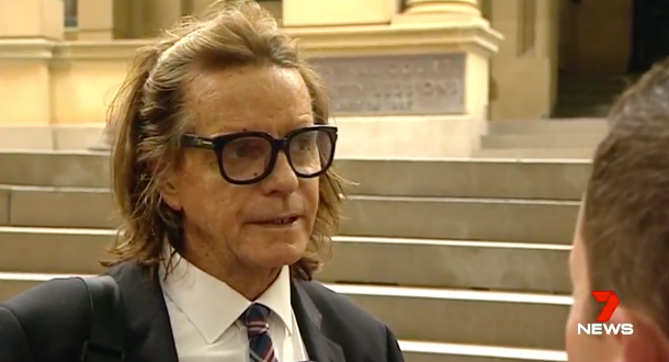 Amati's lawyer, Charles Waterstreet speaking outside court. Photo: 7 News.