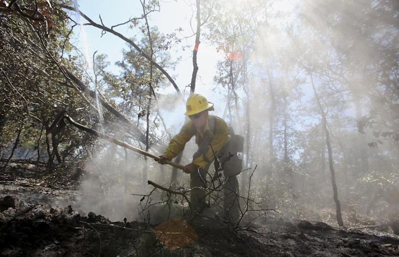 U.S. Forestry Service firefighter Samantha McKelvy works on a putting out a hot spot of the wildfire that burned near Bastrop, Texas, Thursday, Sept. 8, 2011.   (AP Photo/LM Otero)