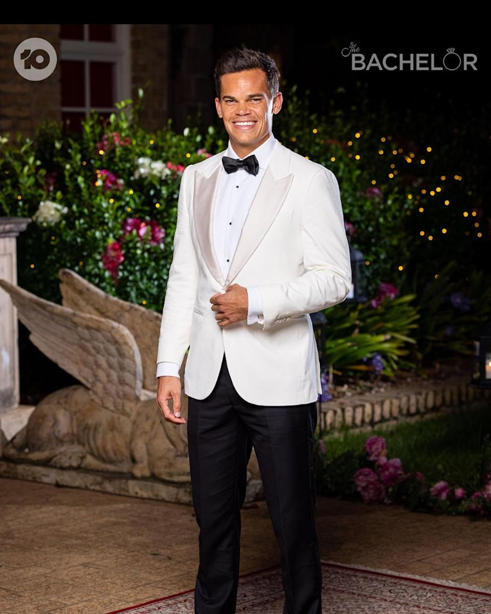 The Bachelor's Jimmy in a white tuxedo