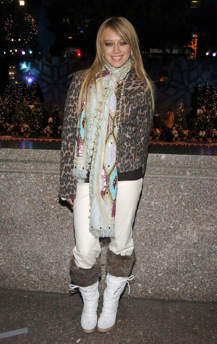 <p>Here, it's as if Hilary Duff decided to try out every trend of the early '00s at once while attending the Rockefeller Plaza Christmas Tree Lighting ceremony.</p>