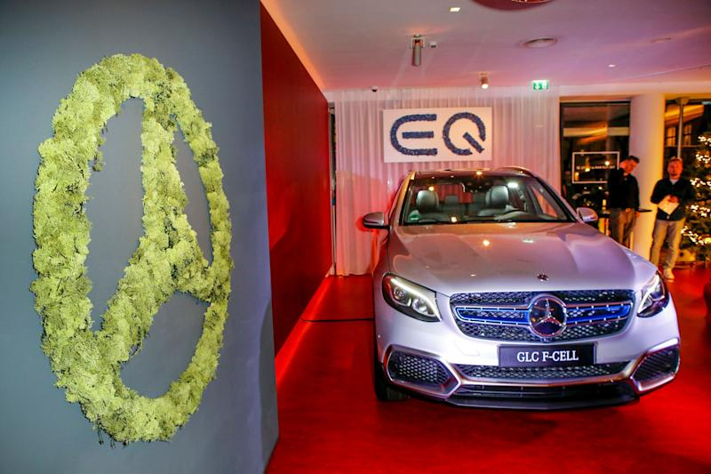 A new Mercedes hydrogen car on display during an event in Berlin on Dec. 10, 2018. (Photo: Isa Foltin via Getty Images)