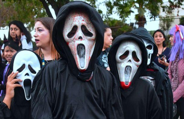 PHOTO:Children dressed in masked Halloween costumes go trick or treating in Monterey Park, Calif., October 31, 2017. (Afp Contributor/AFP via Getty Images, FILE)