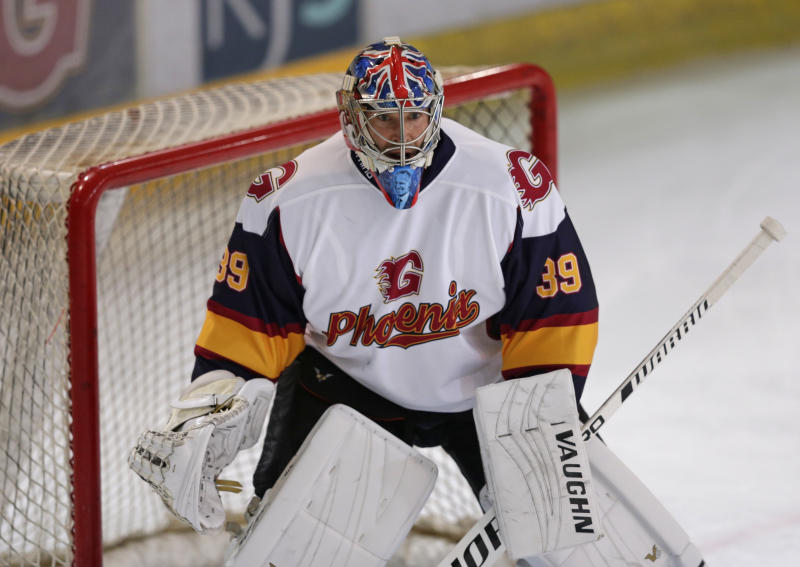 GUILDFORD, ENGLAND - OCTOBER 13: Petr Cech of Guildford Phoenix during the match between Guildford Phoenix and Swindon Wildcats on October 13, 2019 in Guildford, England. (Photo by Henry Browne/Getty Images)
