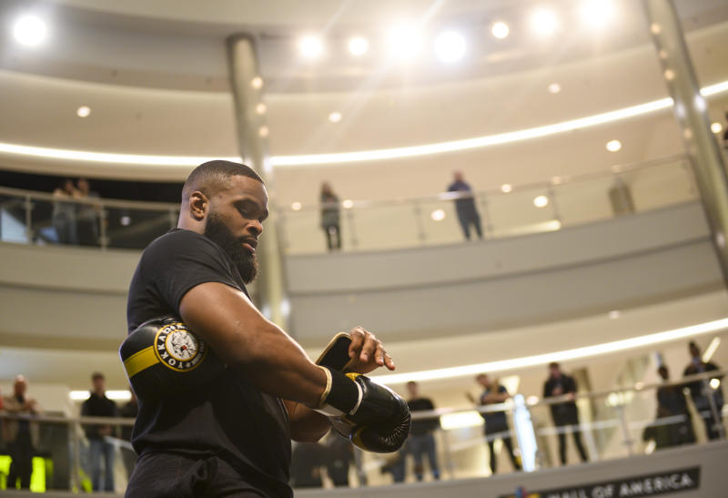 MINNEAPOLIS, MN - MAY 02: Tyron Woodley performs in front of a crowd during the UFC Fight Night Open Workouts event at the Mall of America on May 2, 2019 in Minneapolis, Minnesota. (Photo by Stephen Maturen/Zuffa LLC/Zuffa LLC)