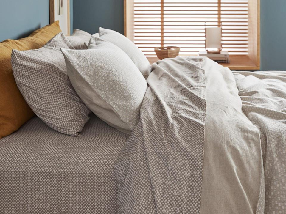 <p>If you're looking for new bedding, and want a fun pattern, then opt for the <span>Parachute Geo Stitch Duvet Cover Set</span> ($259-$289). The design will look so cool, without being too much.</p>