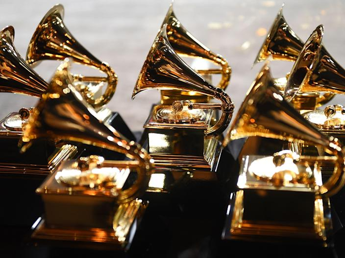 Grammy trophies during the 60th Annual Grammy Awards on 28 January 2018, in New York (DON EMMERT/AFP via Getty Images)