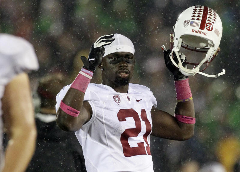 Stanford wide receiver Jamal-Rashad Patterson (21) reacts as he looks to the field during overtime of an NCAA college football game against Notre Dame in South Bend, Ind., Saturday, Oct. 13, 2012. Notre Dame won in overtime 20-13. (AP Photo/Nam Y. Huh)