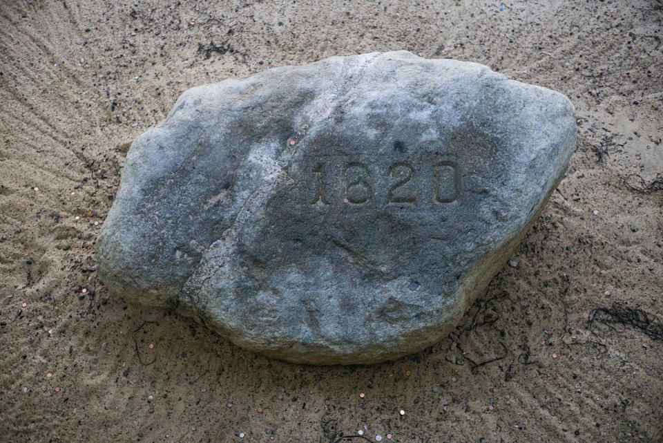 "<p><strong>State Historical Rock: Plymouth Rock </strong></p><p>Not only does<a href=""https://www.sec.state.ma.us/cis/cismaf/mf1a.htm"" rel=""nofollow noopener"" target=""_blank"" data-ylk=""slk:the state have an official rock"" class=""link rapid-noclick-resp""> the state have an official rock</a>, the Roxbury Puddingstone, but it also has a historical rock. This one from Plymouth is not exactly where the Pilgrims landed in 1820, but is a commemorative marker of that event. There is also Dighton Rock, which has been designated the State Explorer Rock. </p>"