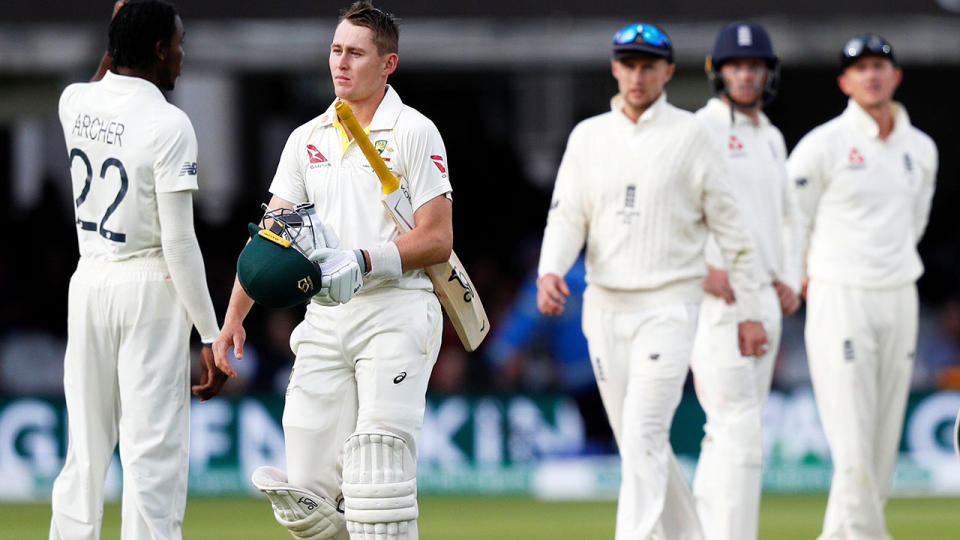 Marnus Labuschagne, pictured here after his superb knock ended. (Photo by ADRIAN DENNIS/AFP/Getty Images)
