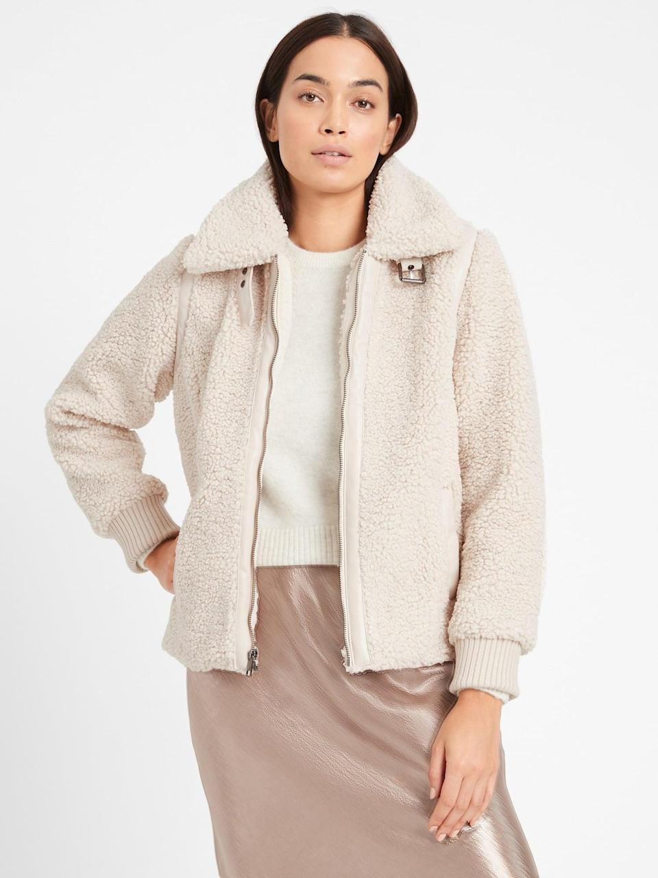 <p>You can easily dress this <span>Sherpa Bomber Jacket</span> ($209) up or down.</p>