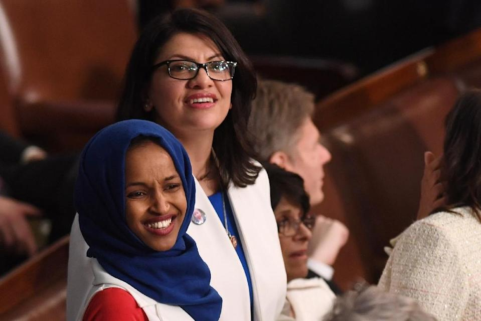 Newly-elected US lawmakers Ilhan Omar (L) and Rashida Tlaib (R) made their debut in the House of Representatives openly declaring their support for a boycott of Israel (AFP Photo/SAUL LOEB)