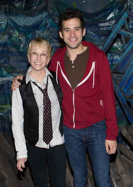 "This Oct. 14, 2012 image released by the O+M Company shows Cathy Rigby, left, with Adam Chanler-Berat backstage at the Broadway play ""Peter and the Starcatcher."" Rigby, who has played Peter Pan for many year, came to lend her support to the latest Peter. (AP Photo/O+M Company, Tristan Fuge)"