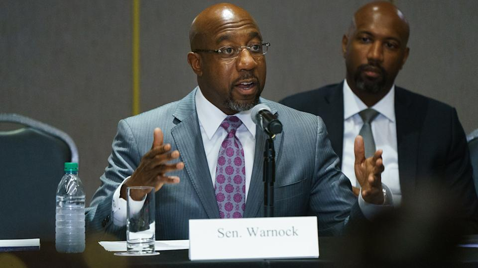 U.S. Sen. Raphael Warnock (D-GA) speaks during a U.S. Senate Rules Committee Georgia Field Hearing on the right to vote at the National Center for Civil and Human Rights on July 19, 2021 in Atlanta, Georgia. (Elijah Nouvelage/Getty Images)