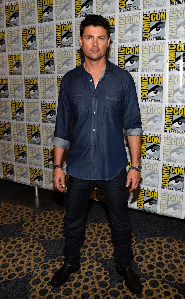 "SAN DIEGO, CA - JULY 19: Actor Karl Urban attends ""Almost Human"" Press Room during Comic-Con International 2013 at Hilton San Diego Bayfront Hotel on July 19, 2013 in San Diego, California. (Photo by Ethan Miller/Getty Images)"