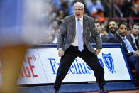 North Carolina head coach Roy Williams shouts to his players during the second half of an NCAA college basketball game against Syracuse in Syracuse, N.Y., Saturday, Feb. 29, 2020. North Carolina defeated Syracuse 92-79. (AP Photo/Adrian Kraus)