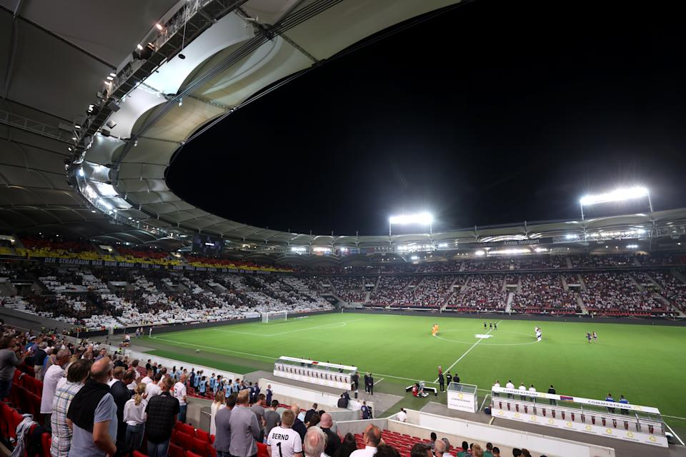 Stuttgart, GERMANY - SEPTEMBER 05: A memorial display is seen for Gerd Mueller prior to 2022 FIFA World Cup Qualifier match between Germany and Armenia at Mercedes Benz Arena on September 05, 2021 in Stuttgart, Stuttgart. (Photo by Alex Grimm/Getty Images)