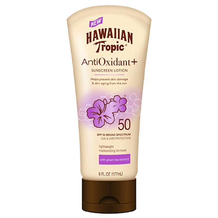 """<p>Looking for new everyday protection? Hawaiian Tropic's Antioxidant Sunscreen Lotion 50 is formulated with good-for-the-skin antioxidants like green tea extract to nourish as it shields from damaging UV rays. The silky, lightweight lotion goes on smoothly and smells <em>just</em> like you're on the shore of a tropical island (and not confined to the boardroom). Did we mention it's under 10 bucks?</p> <p><strong>$11</strong> (<a href=""""https://shop-links.co/1703534503415578966"""" rel=""""nofollow noopener"""" target=""""_blank"""" data-ylk=""""slk:Shop Now"""" class=""""link rapid-noclick-resp"""">Shop Now</a>)</p>"""