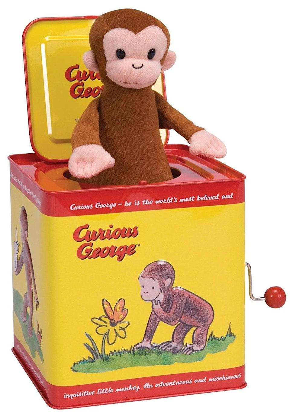 """<p>Why mess with perfection? The timeless appeal of an old-fashioned jack-in-the-box pairs with a beloved kids literary character with this <span>Curious George in the Box</span> ($20) that plays """"Pop Goes the Weasel."""" </p>"""