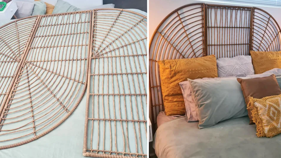 A Perth woman used two Kmart rattan screens to create this bedhead hack. Photo: Facebook/Kmart DIY and Hacks