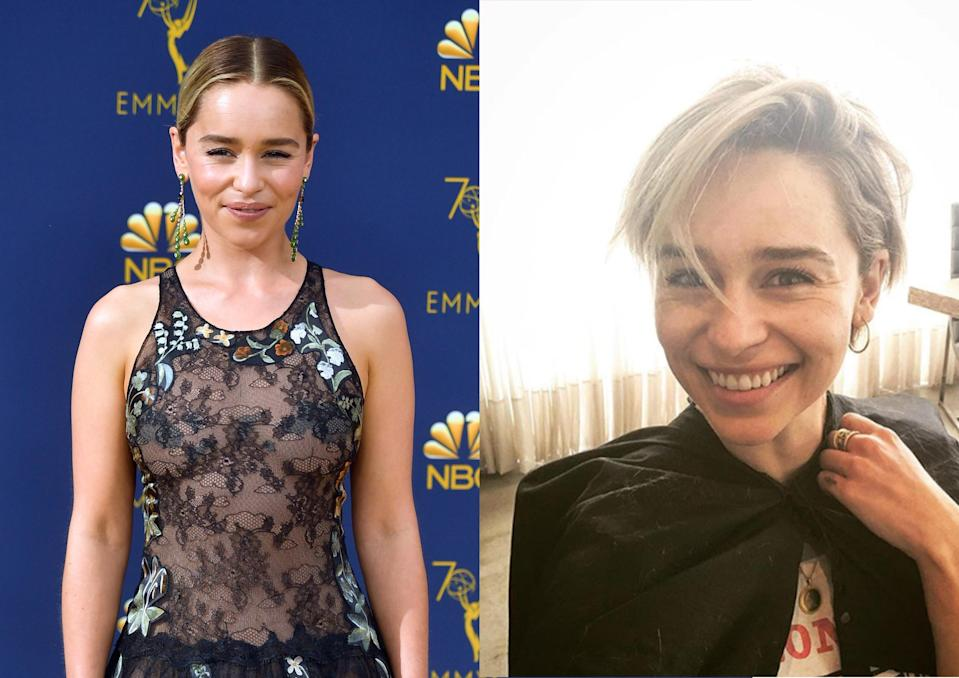 <p><strong>When:</strong> 27 September 2018<br>'Game of Thrones' star Emilia Clarke chopped off her shoulder length locks to reveal a short 'do very similar to Gwyneth Paltrow's look in 'Sliding Doors'. <em>[Photo: Getty/Instagram]</em> </p>