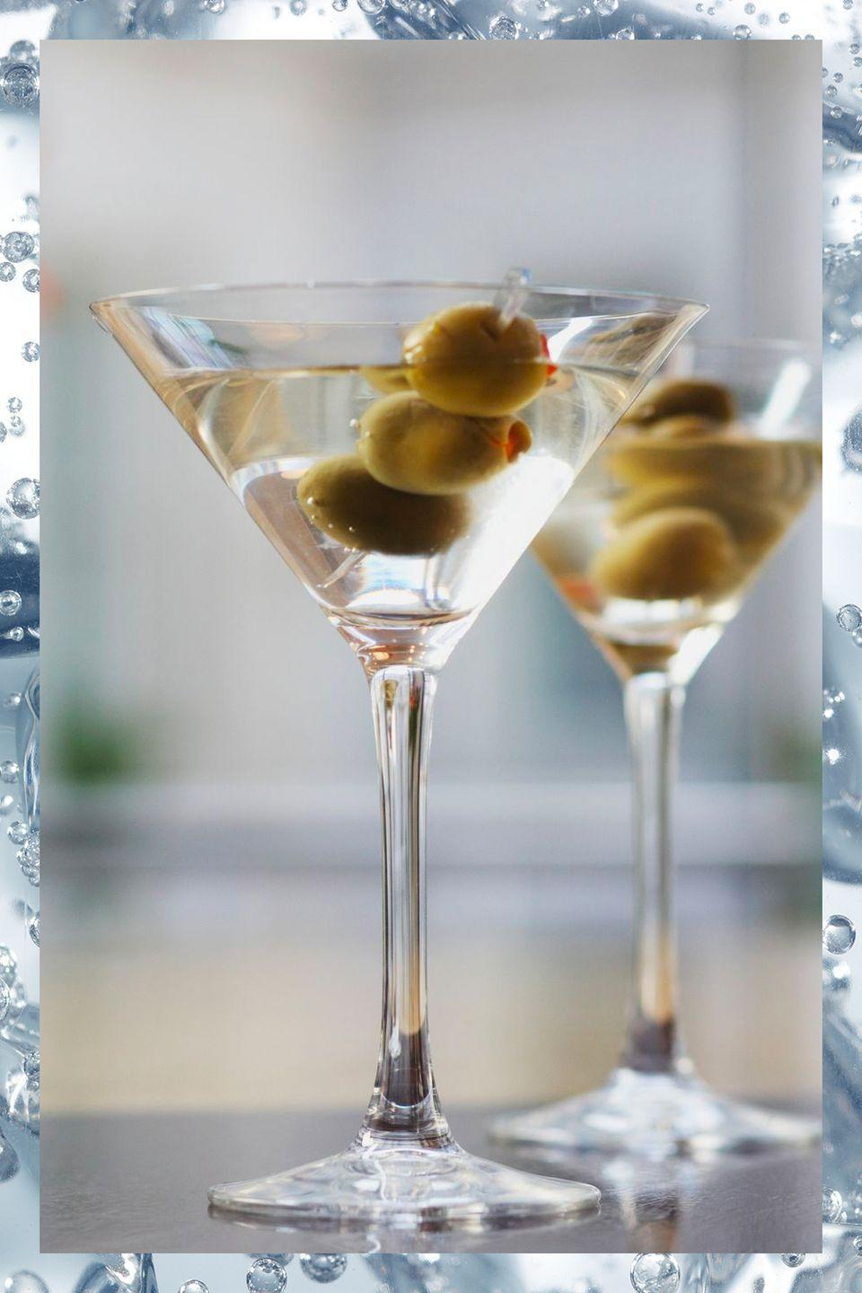 """<p>James Bond was wrong—whether you drink it with gin or vodka, stirred is the way to go when ordering a martini.</p><p>- 3 oz gin or vodka<br>- .5 oz dry vermouth<br>- Lemon peel or olive</p><p><em>Stir ingredients in a mixing glass with ice. Strain into chilled <a href=""""https://www.amazon.com/Riedel-VINUM-Martini-Glasses-Set/dp/B000W06570/?tag=syn-yahoo-20&ascsubtag=%5Bartid%7C10067.g.13092298%5Bsrc%7Cyahoo-us"""" rel=""""nofollow noopener"""" target=""""_blank"""" data-ylk=""""slk:martini glass"""" class=""""link rapid-noclick-resp"""">martini glass</a>. Squeeze oil from lemon peel into the glass or garnish with olive.</em></p><p><strong>More:</strong> <a href=""""https://www.townandcountrymag.com/leisure/drinks/g9158516/fun-martini-recipes-vodka-gin/"""" rel=""""nofollow noopener"""" target=""""_blank"""" data-ylk=""""slk:The Most Delicious Martinis Made With Gin & Vodka"""" class=""""link rapid-noclick-resp"""">The Most Delicious Martinis Made With Gin & Vodka</a></p>"""