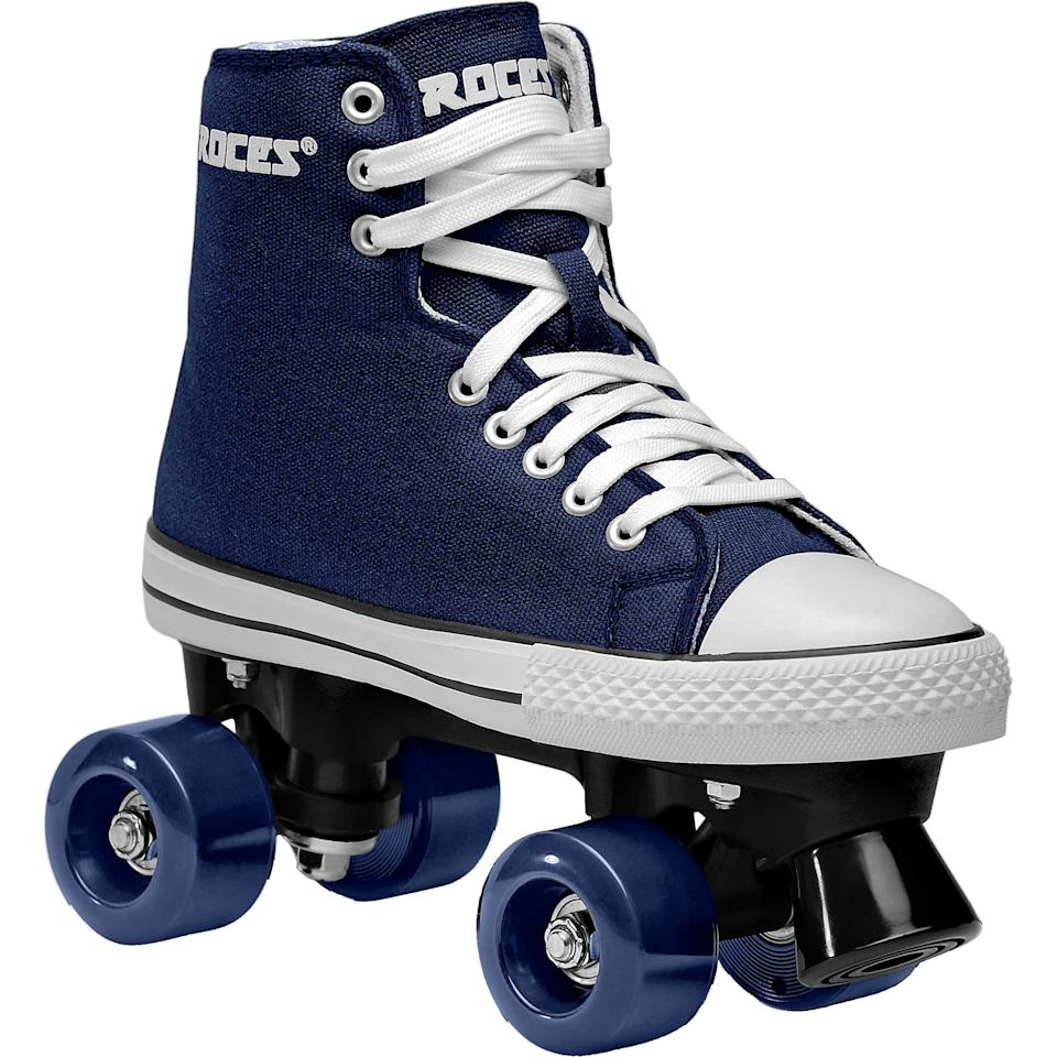 """<h3><a href=""""https://www.dickssportinggoods.com/f/roller-blades?pageNumber=0&filterFacets=3111%3ARoller%20Skates"""" rel=""""nofollow noopener"""" target=""""_blank"""" data-ylk=""""slk:Dick's Sporting Goods"""" class=""""link rapid-noclick-resp"""">Dick's Sporting Goods</a></h3><br>Like any sports retailer worth its salt, Dick's carried a healthy selection of roller skates in its online store. <br><br>While inventory is limited, we'd still encourage you to browse the wide range of brands and styles (you can sort the options by size to get a quick look at what your options are).<br><br><strong>Roces</strong> Chuck Classic Roller Skates, $, available at <a href=""""https://go.skimresources.com/?id=30283X879131&url=https%3A%2F%2Fwww.dickssportinggoods.com%2Fp%2Froces-chuck-classic-roller-skates-18rocuchckclsscxxils%2F18rocuchckclsscxxils"""" rel=""""nofollow noopener"""" target=""""_blank"""" data-ylk=""""slk:Dick's Sporting Goods"""" class=""""link rapid-noclick-resp"""">Dick's Sporting Goods</a>"""