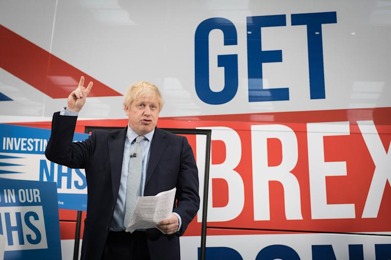 Prime Minister Boris Johnson at the unveiling of the Conservative Party battlebus in Middleton, Greater Manchester. PA Photo. Picture date: Friday November 15, 2019. See PA story POLITICS Election. Photo credit should read: Stefan Rousseau/PA Wire