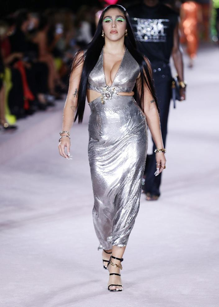 <p>Lourdes Leon hits the catwalk on Sept. 24 during the Versace show at Milan Fashion Week in Italy.</p>