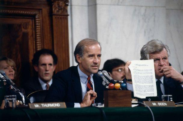 PHOTO: Sen. Joe Biden, left, speaks during a Senate committee hearing of Anita Hill and Clarence Thomas on Capitol Hill in Washington, Oct. 11, 1991. (Jeffrey Markowitz/Sygma via Getty Images, FILE)