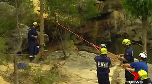 Paramedics had to be winched down to the man who had suffered a cardiac arrest, but he could not be revived. Picture: 7 News