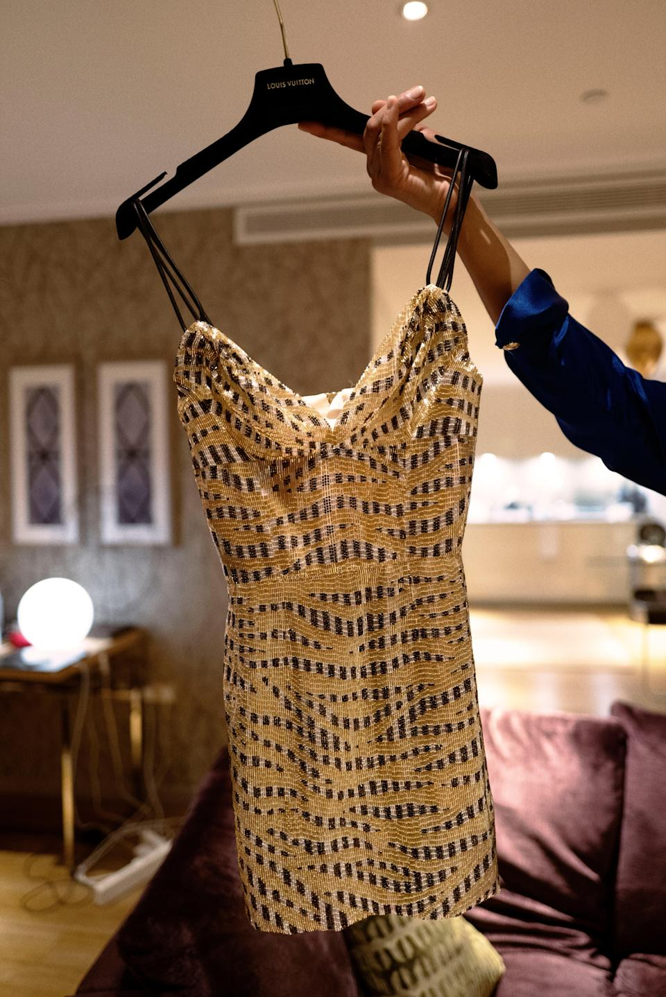 """""""This beautiful beaded Louis Vuitton dress was a dream. Even though we were celebrating the Grammys from London, it was the perfect amount of classic shine and glam to make me still feel extremely special the whole night."""""""