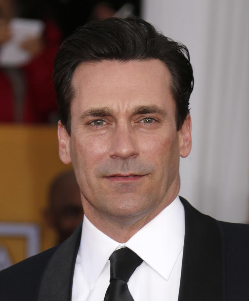Jon Hamm arrives at the 19th Annual Screen Actors Guild Awards at the Shrine Auditorium in Los Angeles on Sunday Jan. 27, 2013. (Photo by Todd Williamson/Invision for The Hollywood Reporter/AP Images)
