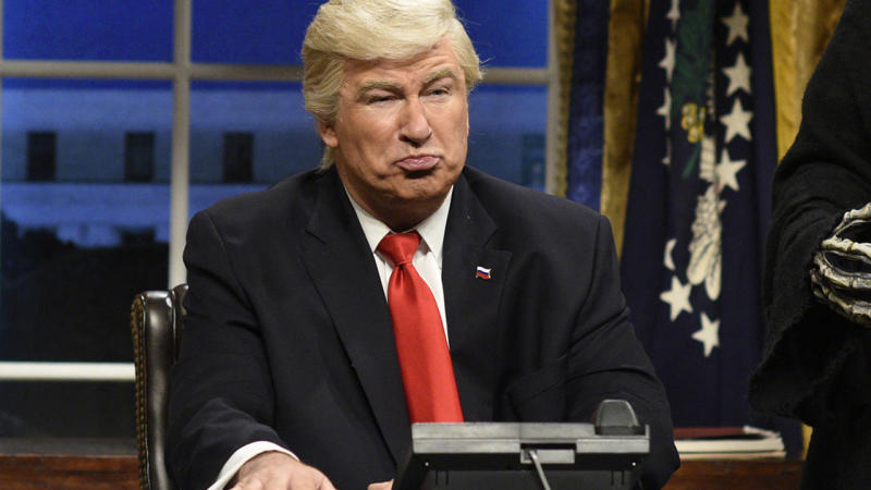 """Saturday Night Live,"" in which actor Alec Baldwin stars as President Donald Trump, was the most tweeted about TV show. (Australian Associated Press)"