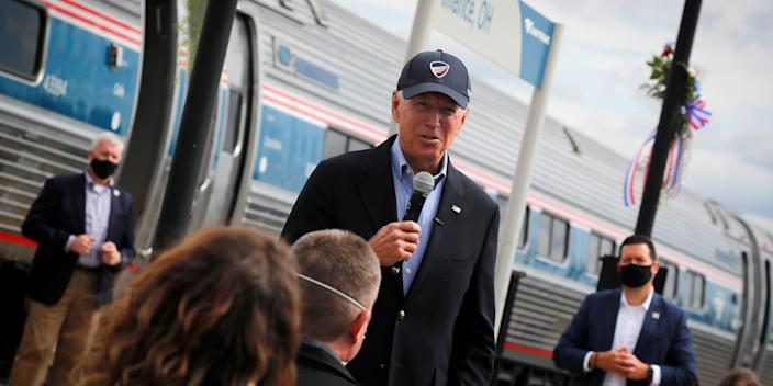 Biden Speaking in front of Amtrak Train Ohio 2020.JPG
