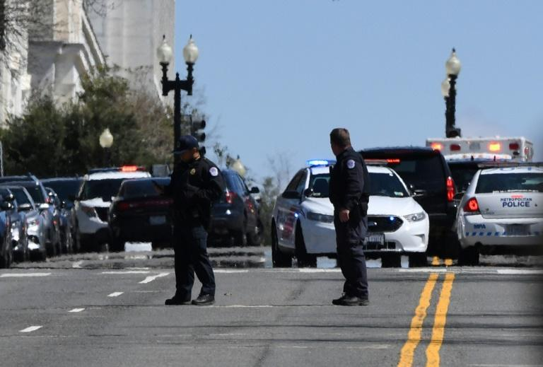 Police block a street near the US Capitol on April 2, 2021, after a vehicle drove into officers at the complex in Washington
