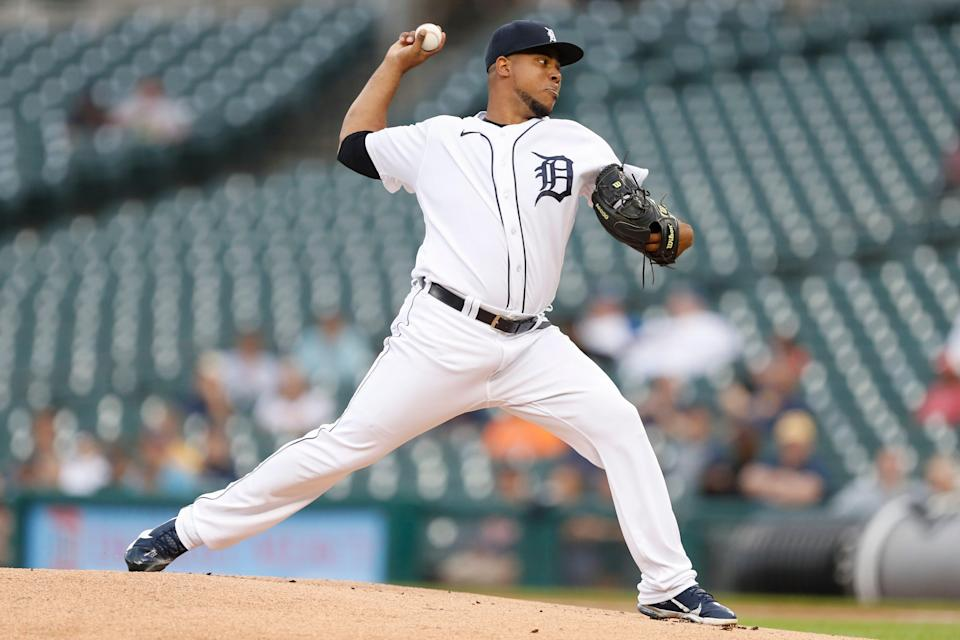 Detroit Tigers starting pitcher Wily Peralta (58) throws during the first inning against the Milwaukee Brewers at Comerica Park on Tuesday, Sept. 14, 2021.