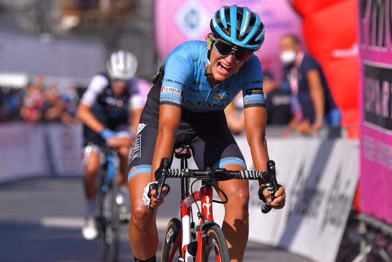 MOTTAMONTECORVINO ITALY SEPTEMBER 19 Arrival Katia Ragusa of Italy and Astana Womens Team during the 31st Giro dItalia Internazionale Femminile 2020 Stage 9 a 1099km stage from Motta Montecorvino to Motta Montecorvino 645m GiroRosaIccrea GiroRosa on September 19 2020 in Motta Montecorvino Italy Photo by Luc ClaessenGetty Images